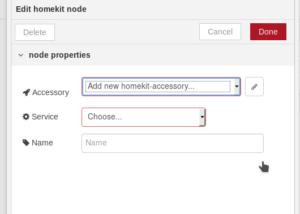 Impostazioni nodo homekit